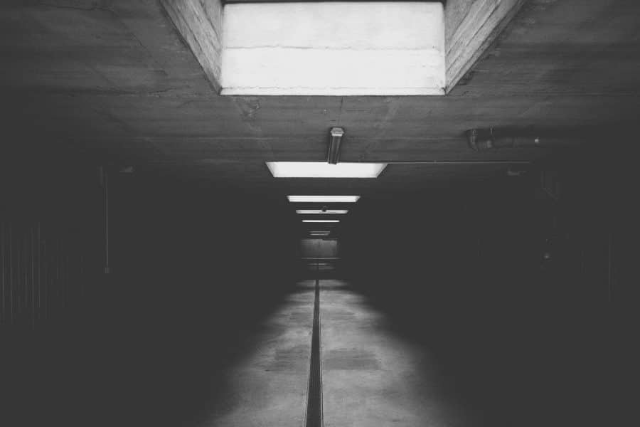 black and white picture of basement